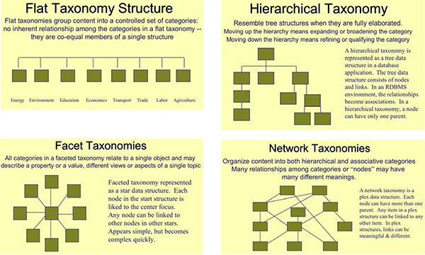 Examples of types of taxonomy